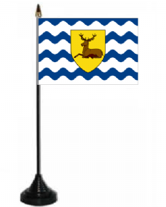 Hertfordshire Desk / Table Flag with plastic stand and base.